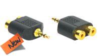 Adaptador audio dourado Jack Stereo Macho a 2x RCA fêmea (5)