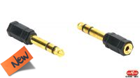 Adaptador audio dourado Jack 3.5mm Fêmea a 6.35mm Macho em blister