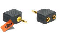 Adaptador audio dourado jack 3.5mm Stereo a 2x Jack Fêmea em blister (2)