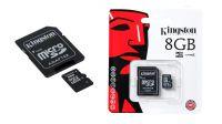 Cartão MicroSDHC Kingston com adaptador para SD