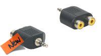 Adaptador audio Jack 3.5mm Stereo Macho a 2x RCA Fêmea preto