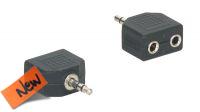 Adaptador audio stereo Jack 3.5mm Macho a 2x Jack 3.5mm fêmea preto