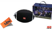 "Coluna Wireless ""Bola Rugby"" portátil TF Card USB Jack 3.5mm prova salpicos preta"